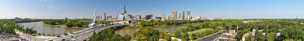 Downtown Winnipeg panoramic from St Boniface, Manitoba